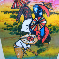 Batik Art Painting on Fabric Asian Rice Paddies Conical Hats Colorful Picture