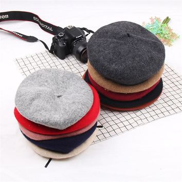 FFBC002 Autumn Winter Solid Women Wool Felt Beret Hat New Fashion Female Warm Dance Hip Hop Bonnet Cap Boinas Mujer