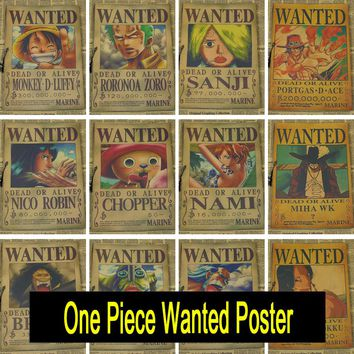 One Piece wanted posters Vintage Retro Matte Kraft Paper Antique Poster Wall Sticker Home Decoration