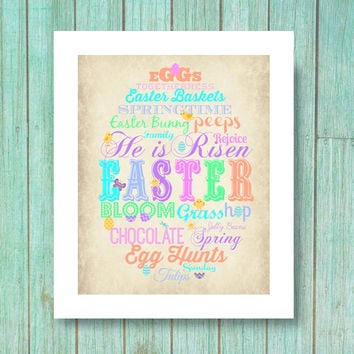 Easter Subway art Printable Decor - Easter - pastel art wall art printable 8x10 dowload printable vintage wood eggs typography words