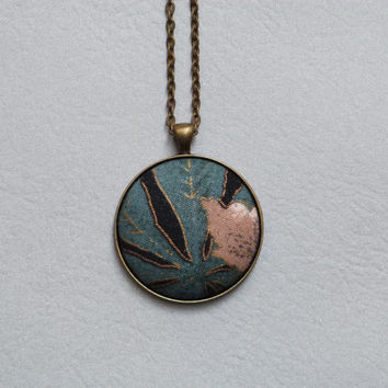 Lovely Floral Necklace, Modern Boho Fall Fashion, Eco Fabric Button Pendant, Botanical Print, Beautiful Gold Accent, Blue and Black