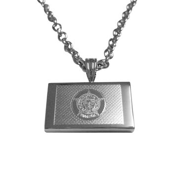 Silver Toned Etched Minnesota State Flag Pendant Necklace