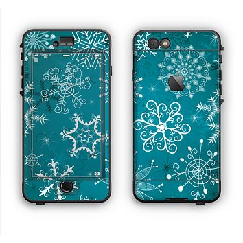 The Intricate Snowfakes with Green Background Apple iPhone 6 Plus LifeProof Nuud Case Skin Set