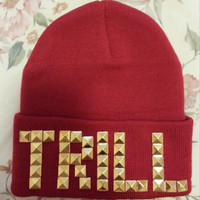 Trill Gold Pyramid Studded Red Beanie