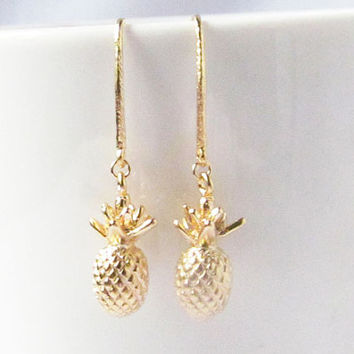 pineapple earrings, fruit earrings, fruit jewelry, pull through earrings