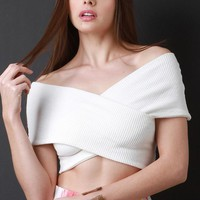 Ribbed Knit Crisscross Bardot Crop Top