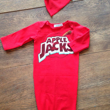 infant baby gown & knot hat- apple jacks graphic tshirt- upcycled