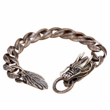 Totems Horned Dragon Silver Luxury Bracelet