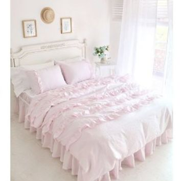 Pink Princess Wedding Bed Set Korean Romantic Ruffle Duvet Cover Bedding Set Rural Queen Size Girls Bed in a Bag 4Pcs