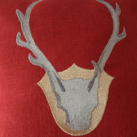 Throw Pillow Cover In Red Burlap Exquisitely Embroidered Deer Antler -Multi Size Cushion- Wedding -Anniversary- Gift For Him -Housewarming