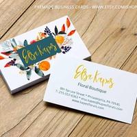 Premade business card, business card template, business card design, printable cards, floral business cards, cool business cards