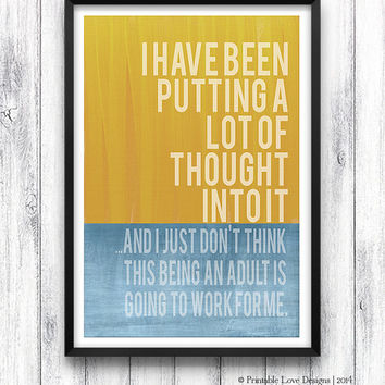 Being An Adult Not Working For Me || typography, art print, adult print, modern art print, funny print, amusing print, adult quote, blue