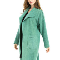Turquoise Lapel Dropped Shoulder Woolen Coat