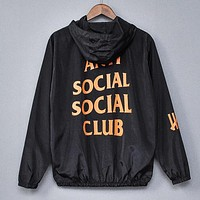 ANTI SOCIAL SOCIAL CLUB New Fashion Letter Print Women Men Hooded Long Sleeve Trench Coat Windbreaker Black
