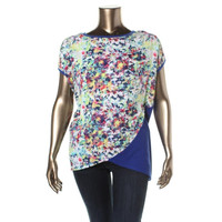 Kut From The Kloth Womens Knit Floral Print Pullover Top