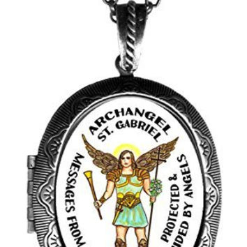 Archangel St Gabriel Messages From God Xl Solid Perfume Locket Pendant Antique Silver