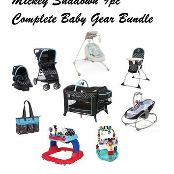 Disney Mickey Shadow Complete Baby Gear Bundle,Travel System,Playard,Swing & Diaper Bag