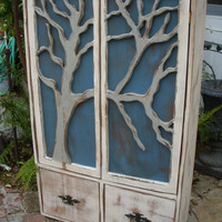 Rustic Furniture Shelf Oak Tree Cabinet by honeystreasures