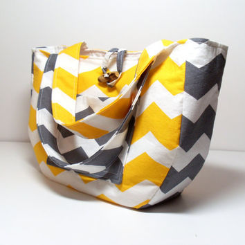 Purse  - Chevron - Yellow Gray - Handbag - Made to Order