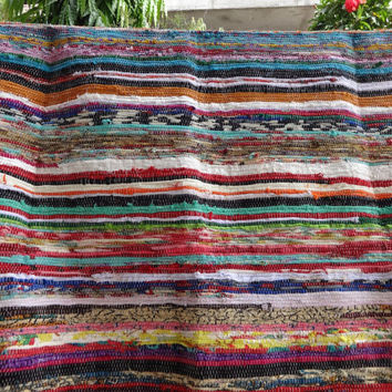 Lot of 5 Handmade Vintage Rag Rug, Hand Woven Chindi Durrie, Reversible Carpet, Meditation Mat, Yoga Mat, Multi Color, Wholesale Lot