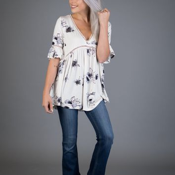 White and Gray Floral Babydoll Top