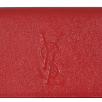 Yves Saint Laurent YSL women's Belle De Jour Red Leather Clutch Bag 361120