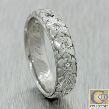1930s Antique Art Deco Platinum Diamond Flower Wedding Band Ring j8