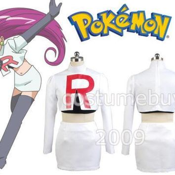 Team Rocket Jessie Cosplay Costumes For Women Cartoon Anime Halloween Costume Custom MadeKawaii Pokemon go  AT_89_9