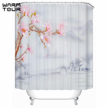 Chinese Style Town Flower Shower Curtains Wild Symbol Marble Waterproof Fabric Bathroom Products Curtain WTC172