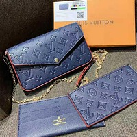 Louis Vuitton LV Women Fashion Leather Chain Crossbody Shoulder Bag Satchel Set Three Piece Blue