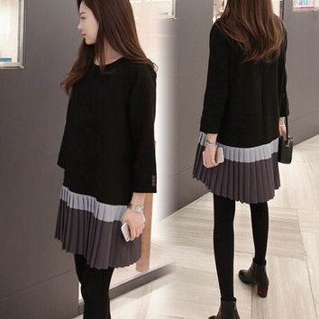 Korean Winter Long Sleeve Slim Plus Size Women's Fashion One Piece Dress [9408626828]