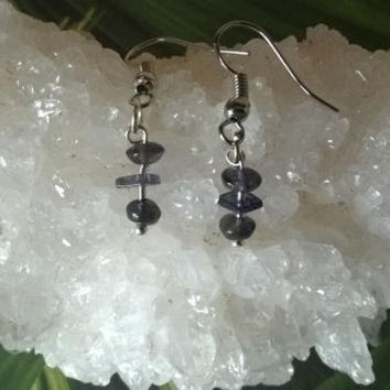 Blue Iolite gemstone earrings artisan Aries Birthstone natural stone dangle bead earrings violet indigo crystal jewelry March April