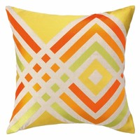 Trina Turk Los Olivos Embroidered Pillow in Yellow