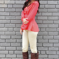 So Sophisticated Top: Bright Coral | Hope's