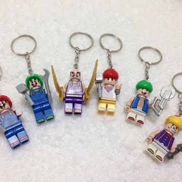New! LEGO Super Mario Brothers Set CollectIon! Lego® Super Mario Minifigurine Keychain, Lego Party Favor Giveaway