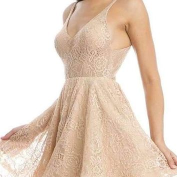 Gold Homecoming Short Dress Criss-Cross and Cut-Out Back
