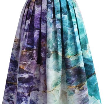 Quartz Crystal Heart Printed Midi Skirt
