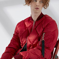 Cropped Puffy Bomber Jacket | Red