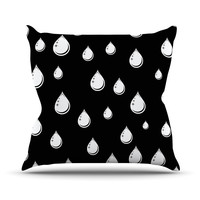 "Suzanne Carter ""Raindrops"" Black White Throw Pillow"