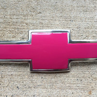 Glossy Pink Vinyl Wrap for Chevy Bowtie Badge Overlay : Silverado Colorado Tahoe Volt & More + Free Shipping!