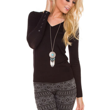 Yadira Sweater Top - Black