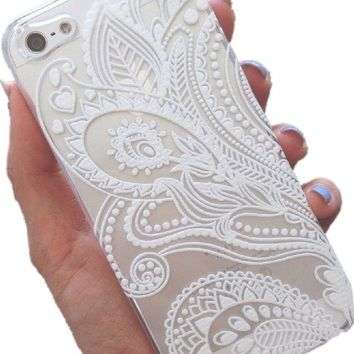 iPhone 5C Case, Wendy's StoresTM Clear Plastic Case Cover for Apple Iphone 5C (Henna White Floral Paisley Flower Mandala)