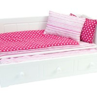 18 Inch Doll Furniture, White Day Bed with Trundle, Fits 18 Inch American Girl Dolls & More! Doll Day Bed with Trundle