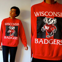 Vtg Wisconsin Badgers Retro Red White Black Sweatshirt