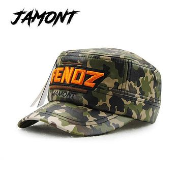 JAMONT Camouflage Winter Military Hat For Children PU Baseball Caps For Kids Baby Flat Top Snapback Hat For Boys Girls Army Hats