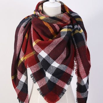 Piper Plaid Scarf in Red & Black Plaid