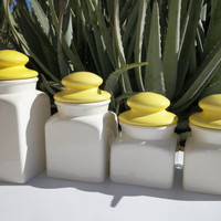 Canister Set. Ceramic. Yellow and White Canisters. Vintage. Kitchen Decor. Kitchenwares. Vintage Kitchen.