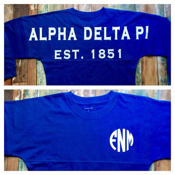 Monogrammed Spirit Jersey, Greek, Custom Sorority Tee Shirt, Alpha Delta Pi, Available in both girl's and women's sizes