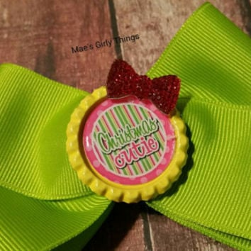 Christmas hair bow - Ready to ship - Holiday hair bow - Photo prop - Fast shipping - Green and yellow hairbow