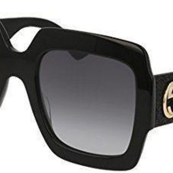 Gucci GG0102S 001 Black / Grey GG0102S Square Sunglasses Lens Category 3 Size 5